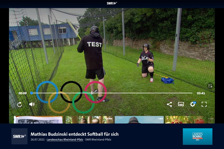 Mathias Budzinski (SWR Landesschau Rheinland-Pfalz) entdeckt Softball für sich – Ein Training bei den Raptors