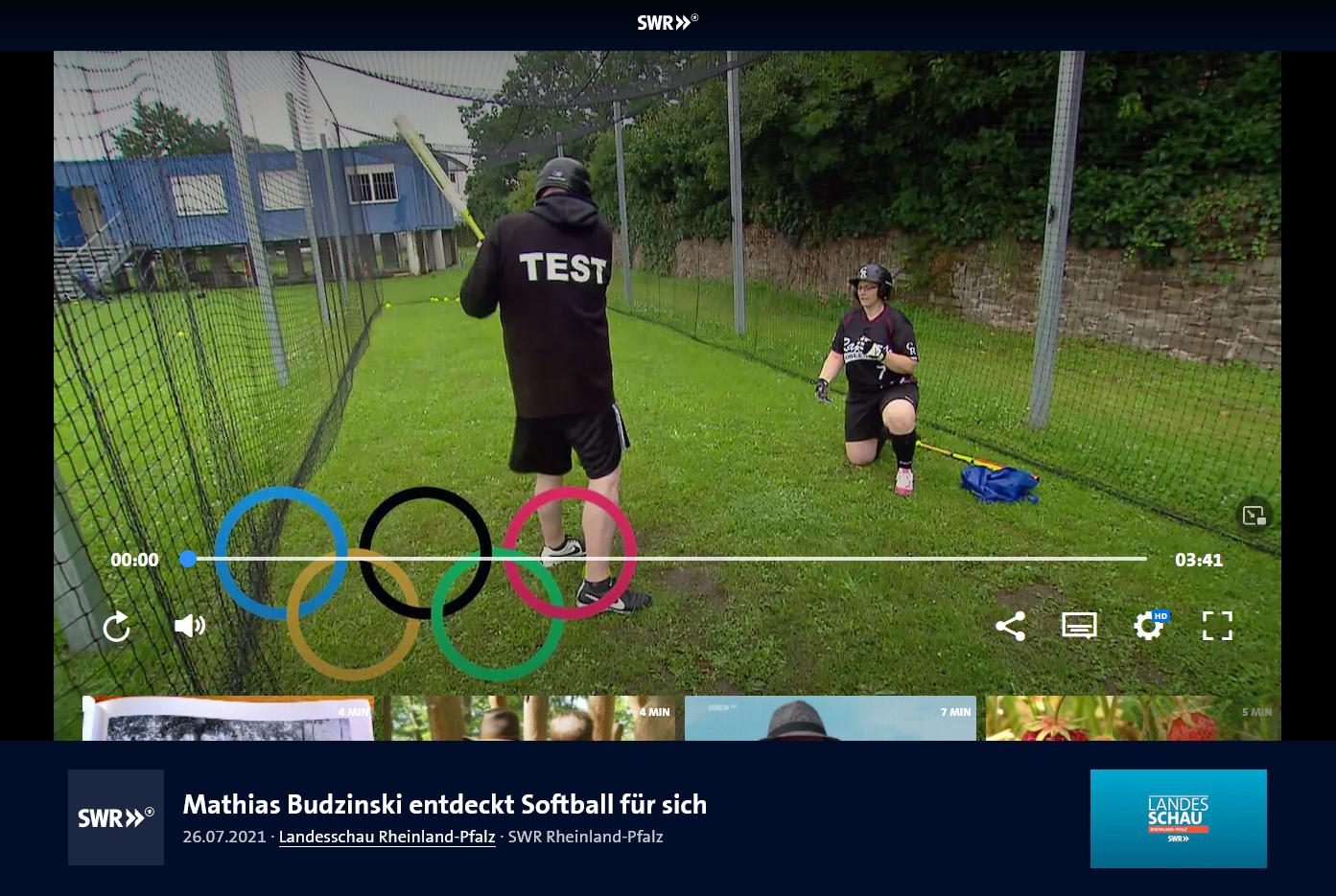 Mathias Budzinski (SWR Landesschau Rheinland-Pfalz) entdeckt Softball für sich - Ein Training bei den Raptors